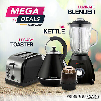 1.8L Electric Kettle Bagel Toaster Blender & Grinder Matching Kitchen Set Black