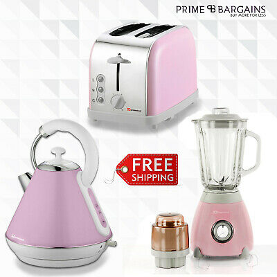 1.8L Matching Kitchen Set Electric Kettle Bagel Toaster Blender & Grinder Pink