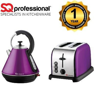 Kitchen Set Purple 1.8L Cordless Electric Kettle Fast Boil &  2 Slice Toaster