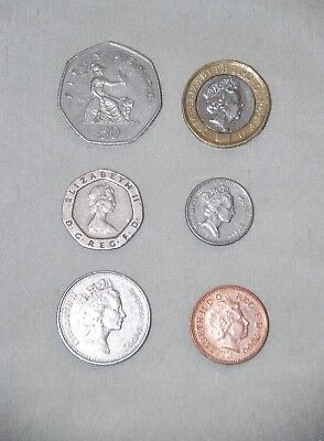 British UK Coin Money Circulated pound pence penny 2 5 10 20 50 Currency English