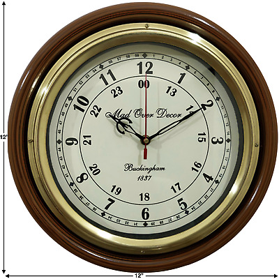 Antique Style Vintage Round Buckingham 1837 Wall Clock With Brass Ring
