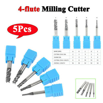 5Pc Tungsten Carbide End Mill 4 Flute Milling Cutter Tool End Mill Set Tools inm