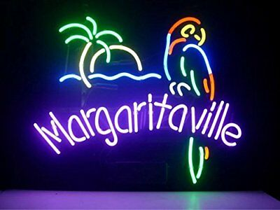 "New Margaritaville Palm Tree Parrot Beer Bar Neon Light Sign 17""x14"""