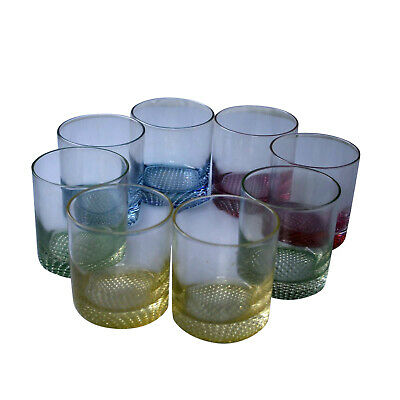8 pc Drinking Glasses Assorted Colors Glass Tumbler Cups  Multi Color Rainbow