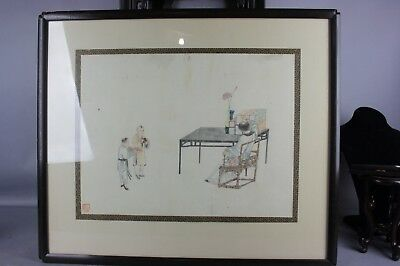 Chinese Watercolor Painting on Laid Paper of Figural Scene