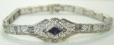 Antique Deco Vintage 14K White Gold Synthetic Sapphire Filigree Bracelet 6.75""
