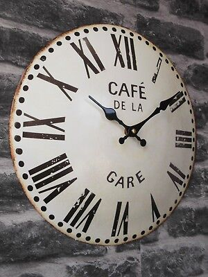 ROUND 34cm ANTIQUE FRENCH VINTAGE STYLE METAL WALL CLOCK SHABBY CHIC NEW