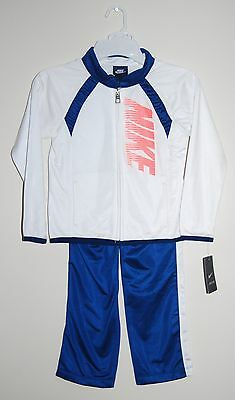 NWT Nike Little Girls Blue & White LS 2pc Track Suit with Gathered Detail, sz 6