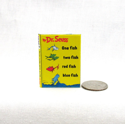 ONE FISH TWO FISH 1:6 Scale Book Readable Illustrated Miniature Book Dr. Seuss