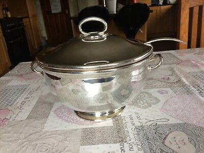 Large Silver Plated Lidded Punch Bowl or Soup Tureen  & Ladel Ex Army
