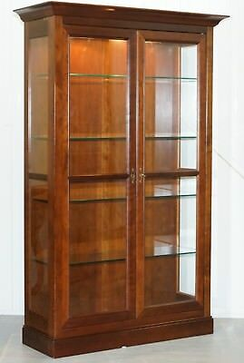 Stunning Grange Solid Cherry Wood Glass Display Cabinet With Lights Bookcase