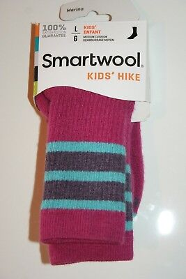 NWT Smartwool Kids Boy's or Girl's Pink Blue Hike Crew Socks Large L (5-7.5) NEW