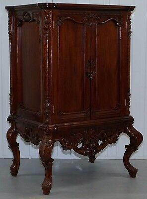 1 Of 2 Stunning Solid Mahogany Hand Carved Ornate Drinks Cabinets Storage Shelve