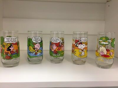 Vintage Camp Snoopy Collectors Glasses Set of 5