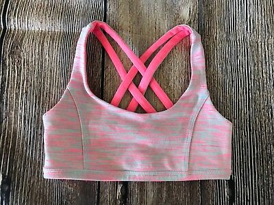 Girl's Ivivva by Lululemon Coral Blue Strappy Reversible Sports Bra 8 EUC
