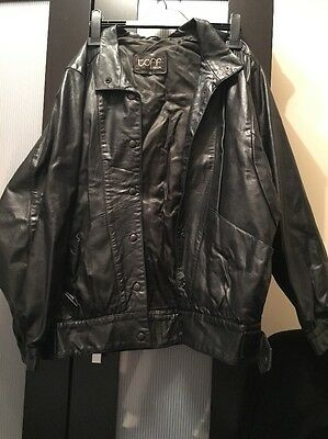 Vintage Leather Jacket TOFF LONDON Size 12 Black Retro Real Preloved 80s Punk