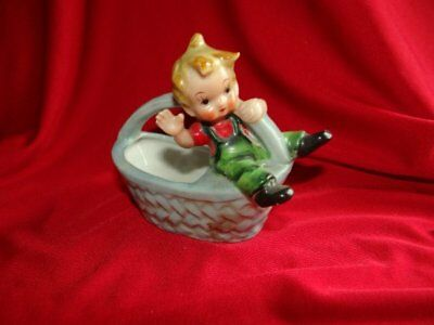 Vintage Tiny Boy on Big Blue Basket Figurine marked Japan