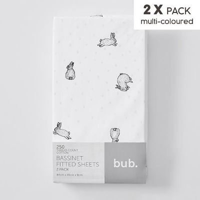 NEW 2 Pack Fitted Bassinette Sheets - Bunny
