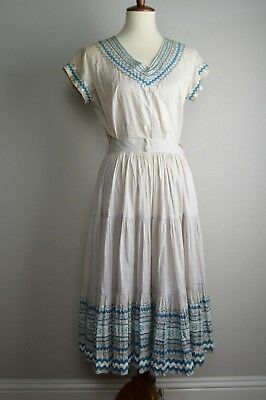 Vintage 1950's Two Piece Patio Set Blouse and Skirt with Belt