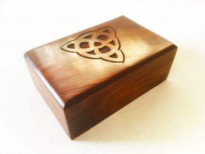 Wooden Box Carved Celtic Triquetra - Tarot Cards Runes Crystals Jewellery Wicca