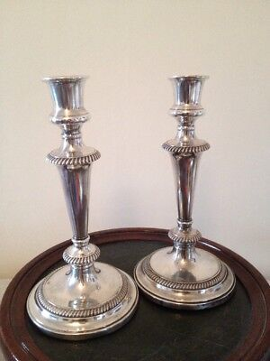 """Large Silver Plate Candlesticks PAIR WALKER & HALL SHEFFIELD ENGLAND c1900s H10"""""""