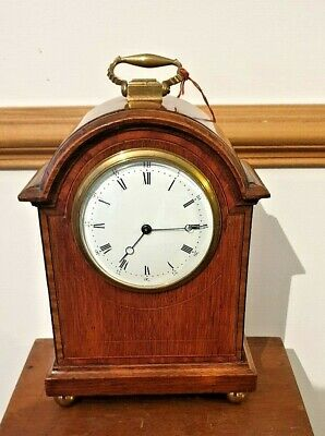 "ANTIQUE BRAKE ARCH CLOCK IN A WALNUT CASE 10 1/4"" H. C.1890  French 8 Day"
