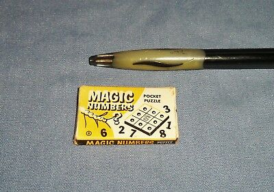 Vtg Magic Numbers Pocket Puzzle Miniature Tiny Peg Board Game Toy