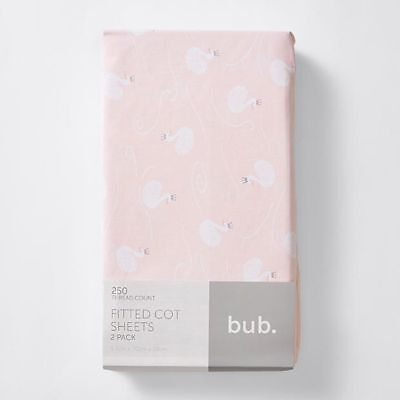 NEW 2 Pack Fitted Cot Sheets - Bella