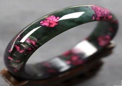 Beautiful Peach Blossom Hetian Jade Bangle 100% Natural Hand-Carved Bracelet-AAA