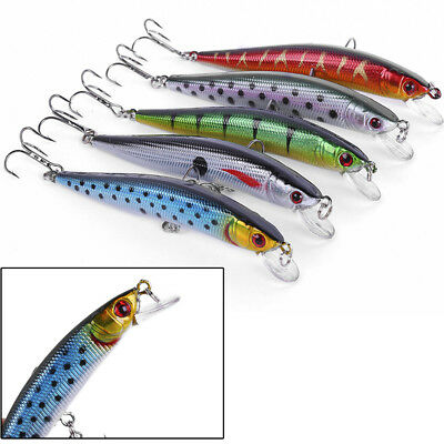 Hard Minnow Fishing Lures Bass Crankbait 6# Hook Tackle Crank Baits 10cm/8g