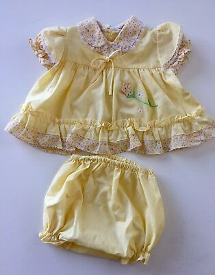 Vintage 2-piece Baby Girl Toddler Doll Dress Lace Floral Summer Sz 12M