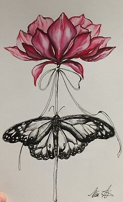 Watercolor & Pen Ink Art Drawing Of Flower. Butterfly Painting Mother's Day gift