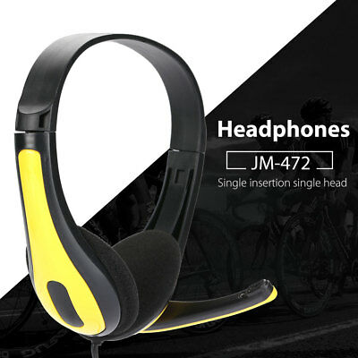 3.5mm Wired Stereo Over Ear Headset Headphone Music with Mic For Smart Phone New