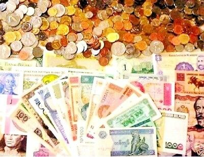 25 World Foreign Coins And 25 Different World MINT Banknotes With List