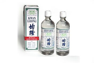 Kwan Loong Medicated Oil x 2 Bottles Fast Pain Relief 57ml each UK Seller