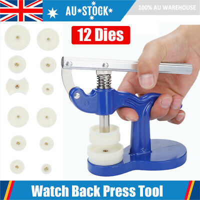 12 Dies Watch Back Case Press Closer Presser Repair Crystal Glass Fitting Tool