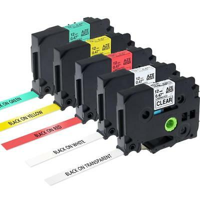 5pk TZe-231 TZe131 TZe631 P-Touch Label Tape Compatible for Brother 5 Color 12mm