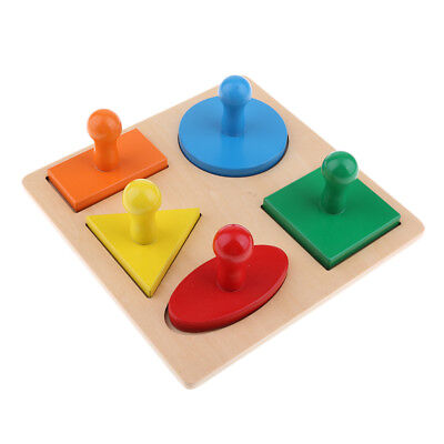 Montessori Geometric Wooden Puzzle Toy Baby Shape Color Recognition Toys