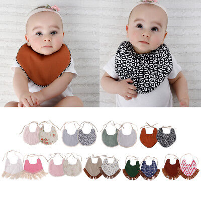 Baby Double-Sided Printing Tassel Saliva Bandana Triangle Bibs Head Scarf Towel
