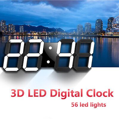 3D LED Digital Wall Clock USB Port Table Alarm 12/24h Display Snooze Timer