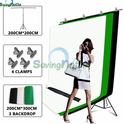 Photo 2X3M Black Screen White Green Background+T Type Backdrop Support Stand KIT