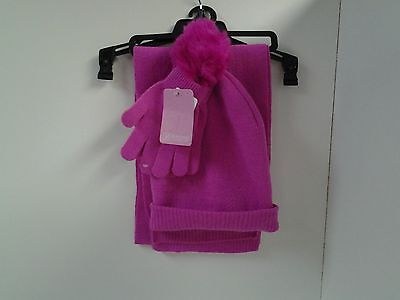 Berkshire Fashions 3 Piece Cold Weather Set Scarf, Gloves Beanie Cap Hat Pink