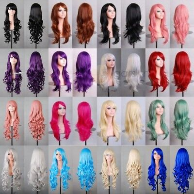 Women Wigs Lady Multi-Color Cosplay Curly Full Wavy Anime Party Costume Hair Wig