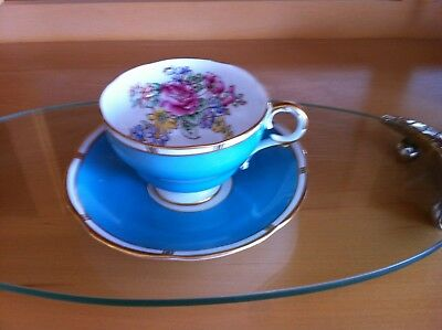 Adderley Cup & Saucer ,Turquoise with Gold Rim