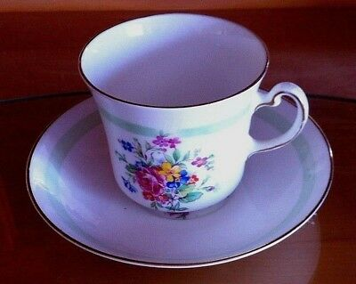 Vale England Bone China White/Green Cup and Saucer set