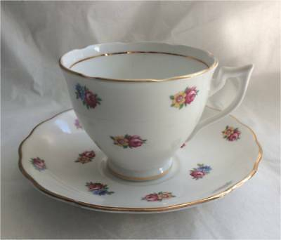 Vintage Crown Essex Small flowers Bone China Tea Cup and Saucer Set