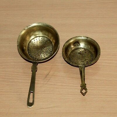Lot of Two 1930's Old Antique Beautiful Brass Kitchen Strainer / Kitchenware #58