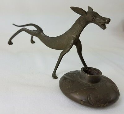 Unusual Brass Dog Candle Stick