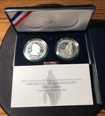 Two Proof Leif Ericson Millennium Silver Dollars 2 Coin Set with Box and COA