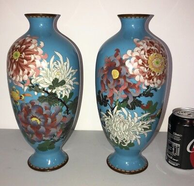 An Excellent Pair of Antique Japanese or Chinese Cloisonne Vases